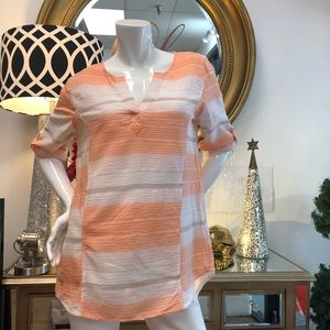 Westbound- Peach & White Cotton Tunic